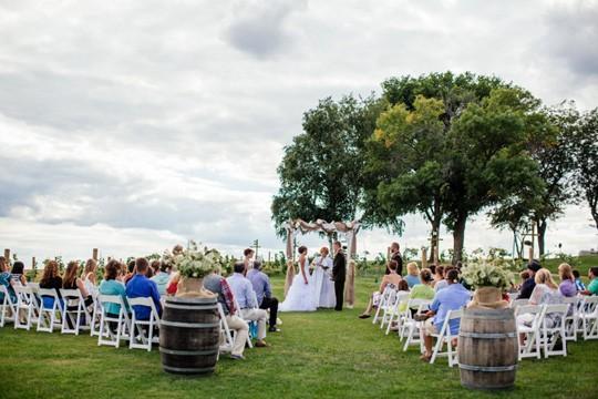 Outside Wedding with Vineyard in Background